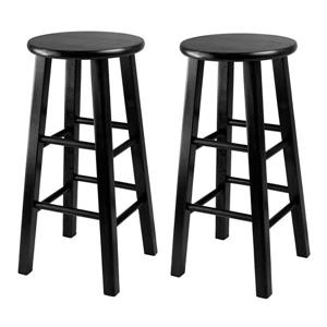 Winsome Wood Pacey Black Wood Bar Stools 13.4-in x 24.2-in  (Set of 2)