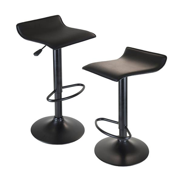 Winsome Wood Obsidian Lift Black Metal Stools 15.1-in x 22.68-in