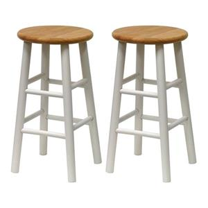 Winsome Wood WhiteTabby Bar Stools 12.8-in x 24.49-in (Set of 2)