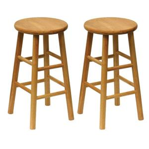 Winsome Wood Natural Tabby Bar Stools 12.8-in x 24.49-in (Set of 2)