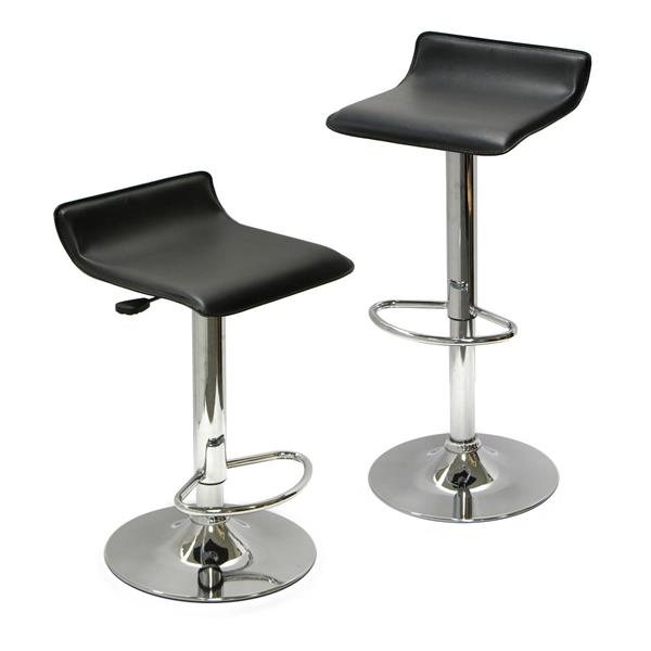 Winsome Wood Spectrum Air Lifts Black 15.1-in x 22.68-in Bar Stools (Set of 2)
