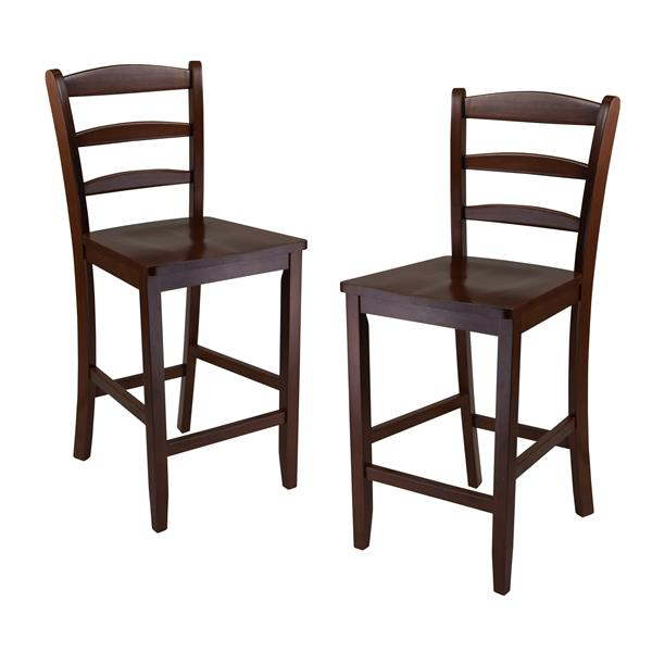 Winsome Wood 24-in Walnut Benjamin Counter Stool (Set of 2)