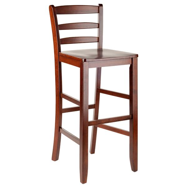 Winsome Wood 30-in Walnut Benjamin Bar Stool (Set of 2)