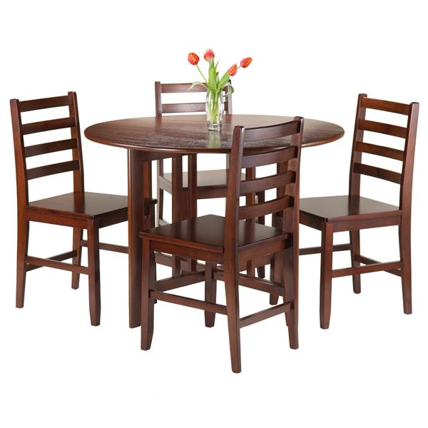 Winsome Wood Alamo 5-Piece Round Drop Leaf Table with 4 Chairs