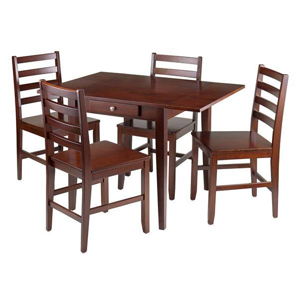 Silver Dining Table And Chairs, Winsome Wood 5 Piece Drop Leaf Dining Table With 4 Chairs 94561 Rona