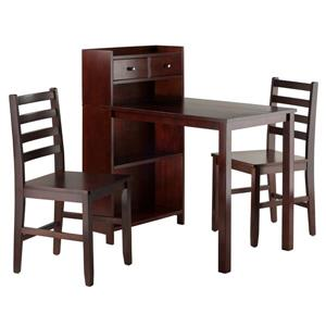Winsome Wood Parkland Walnut 3 Piece Wood High Table Dining Set