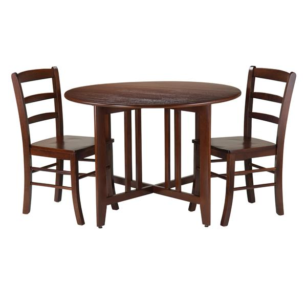 Winsome Wood Alamo 3-Piece Round Drop Leaf Table with 2 Chairs