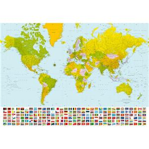 "Brewster Wallcovering Map of the World Wall Mural - 100"" x 144"""