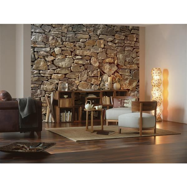 """Brewster Wallcovering Stone Wall Mural - 100"""" x 145"""""""