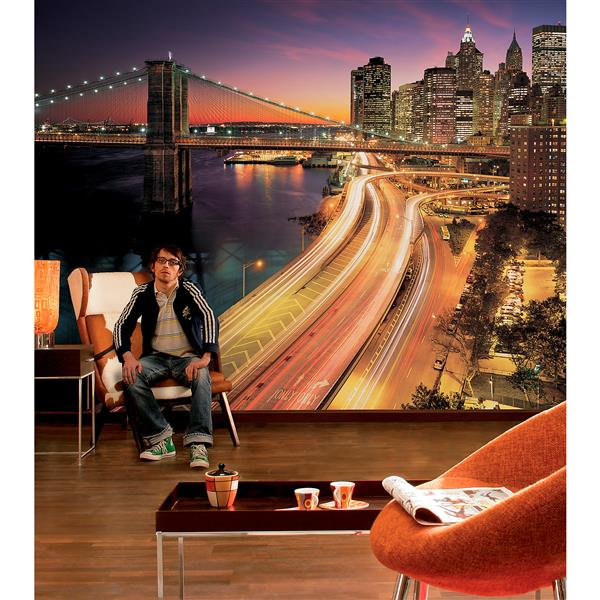 "Brewster Wallcovering Nyc Lights Wall Mural - 100"" x 145"""