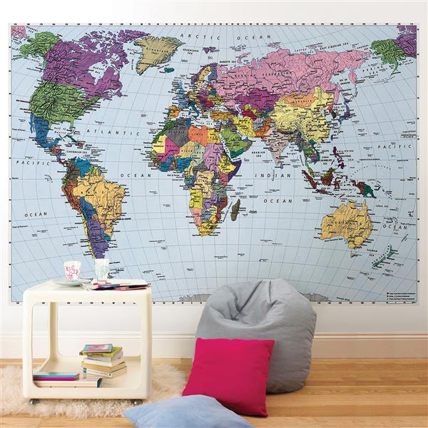 "Brewster Wallcovering World Map Wall Mural - 74"" x 106"""
