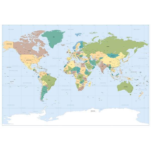 "Murale carte du monde, 50"" x 72"""