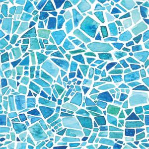 Blue tiles Mosaic Window Film - 17.71