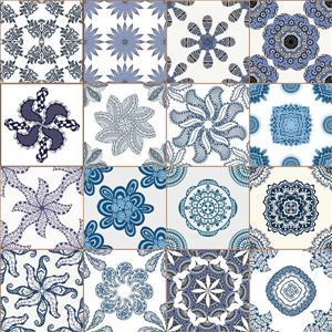 Blue Azulejos Premium Window Film - 17.71
