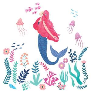 WallPops Let's Be Mermaids Wall Art Kit - 34.5-in x 39-in