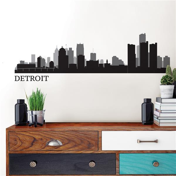 """Trousse d'art mural du paysage de Detroit WallPops,  24"""" x 17,5"""""""