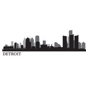 WallPops Detroit Cityscape Wall Art Kit - 24-in x 17.5-in