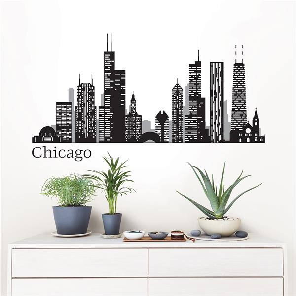 WallPops Chicago Cityscape Wall Art Kit - 24-in x 17.5-in