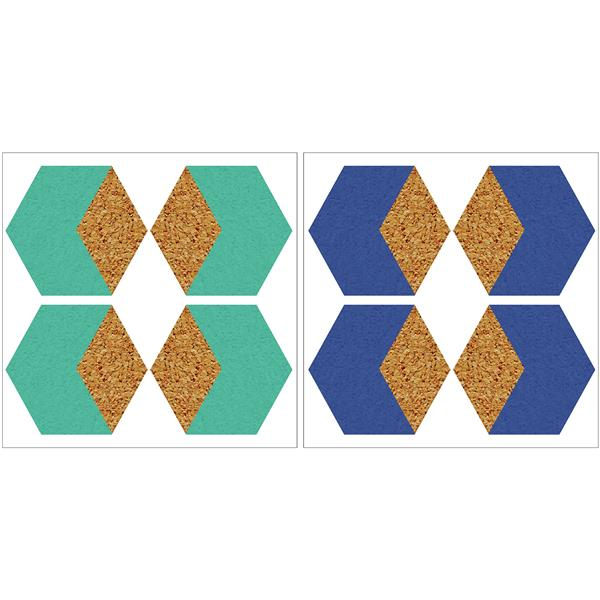 WallPops Hex Blue and Green Cork Shapes - 12-in x 24-in