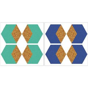 Hex Blue and Green Cork Shapes - 12