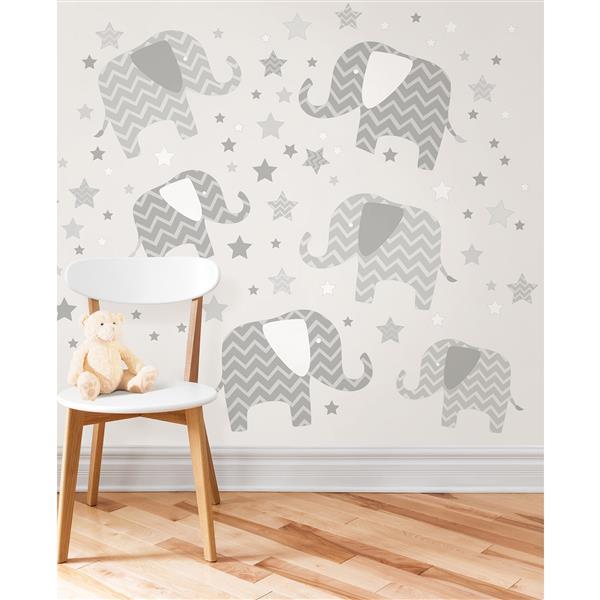 WallPops Wall Art Kit Elephants - 39-in x 34.5-in