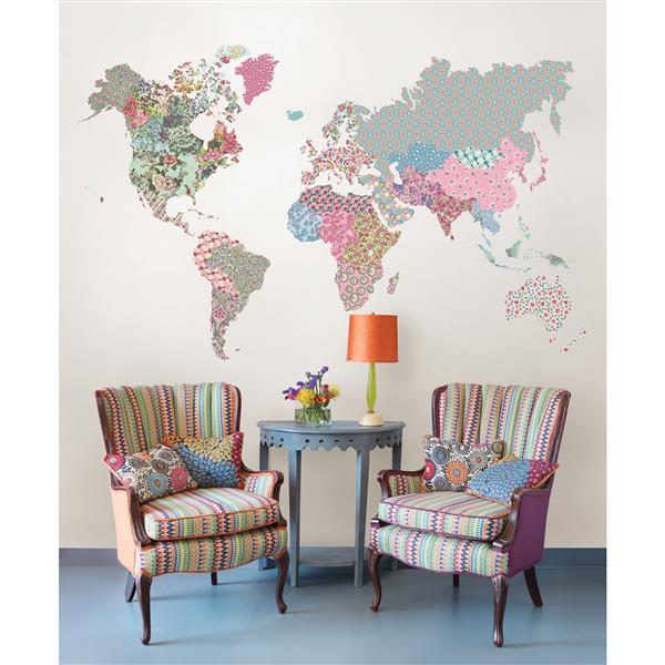 WallPops Boho World Map Wall Art Kit - 36-in x 48-in