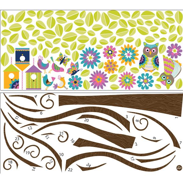 "Trousse d'art mural Hoot and HangoutT WallPops,  39"" x 34,5"""
