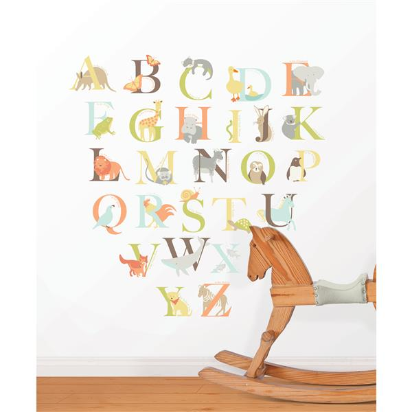WallPops Alphabet Zoo Wall Art Kit - 39-in x 34.5-in