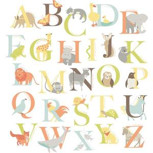 "Trousse d'art mural alphabet zoo WallPops,  39"" x 34,5"""