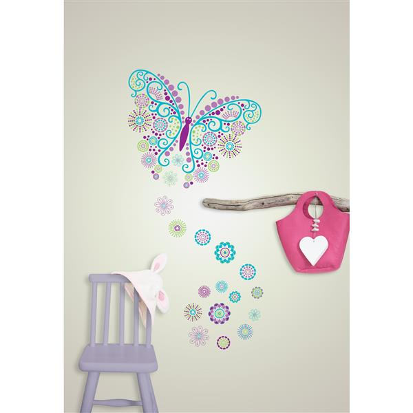 """WallPops Butterfly Wall Art Kit - 39"""" x 34.5"""""""