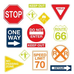 "WallPops Road Signs Wall Art Kit - 39"" x 34.5"""