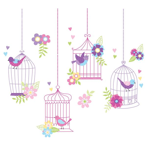 """WallPops Chirping The Day Away Wall Art Kit - 39"""" x 34.5"""""""