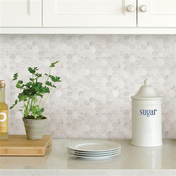 WallPops Hexagon Peel & Stick Backsplash Tiles - 20-in x 20-in - Marble