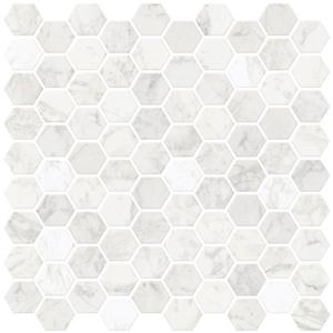 WallPops Hexagon Peel & Stick Backsplash Tiles - 20-in x 20-in - Marble