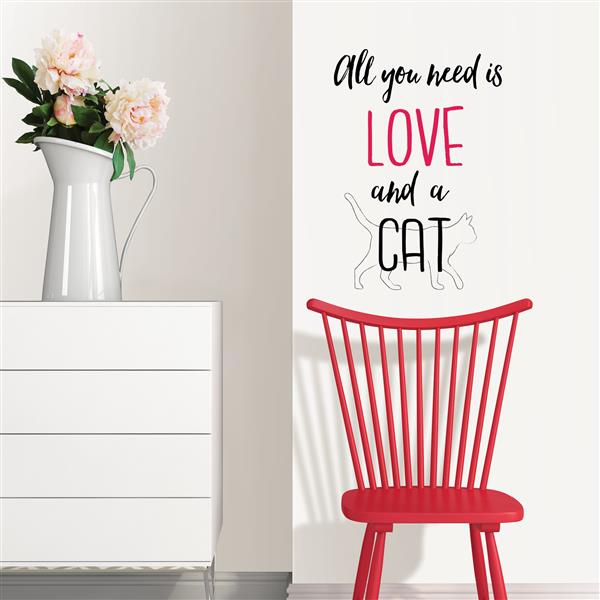 "Citation Papier peint amour et animal WallPops, 15"" x 22"""