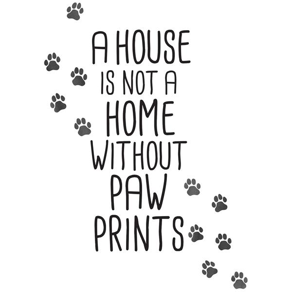 WallPops Home With Paw Prints Wall Quote - 30-in x 22-in