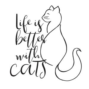 Better With Cats Wall Quote - 17
