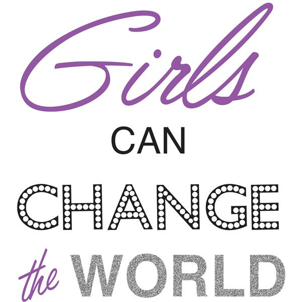 WallPops Girls Can Change The World Wall Quote - 19.75-in x 17.25-in