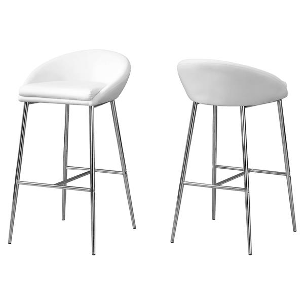Monarch  30-in White Faux Leather Bar Stools (Set of 2)