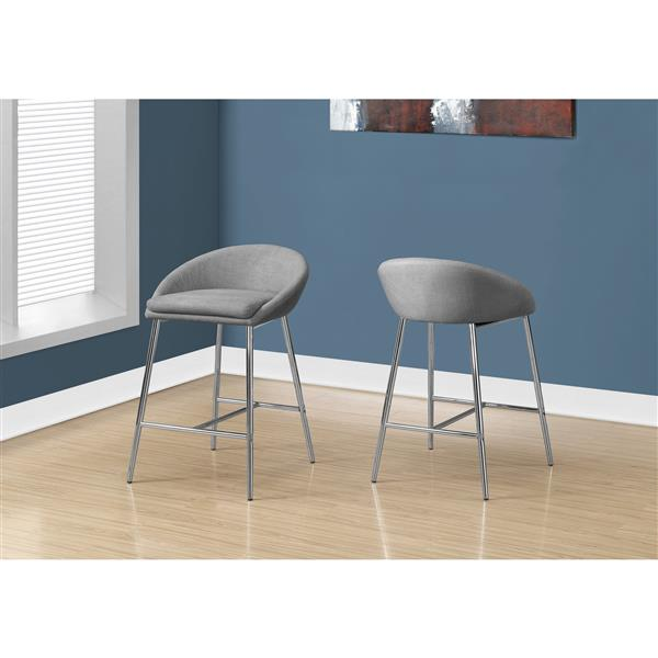 Monarch 24-in Fabric Grey Barstool (Set of 2)