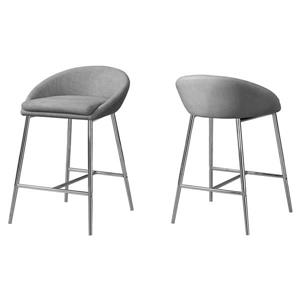 "Tabourets de bar Monarch, 24"", similicuir, gris, ens. de 2"