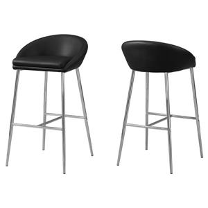 Monarch  30-in  Black Faux Leather Bar Stools (Set of 2)