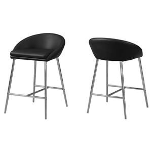 Monarch 24-in Faux Leather Black Barstools