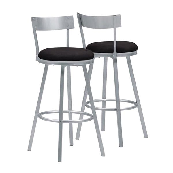 Monarch 30-in Silver and Black Bar Stools (Set of 2)