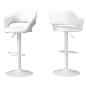 Monarch 24.25-in Faux Leather White Barstool