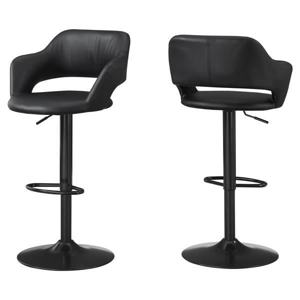 Monarch 24.25-in Faux Leather Black Metal Barstool