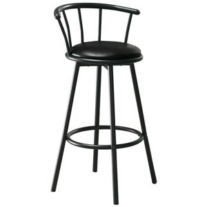Monarch 28-in Black Faux Leather Bar Stools (Set of 2)