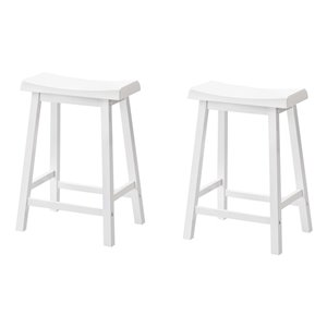 "Tabourets de bar Monarch, 24"", blanc, ens. de 2"