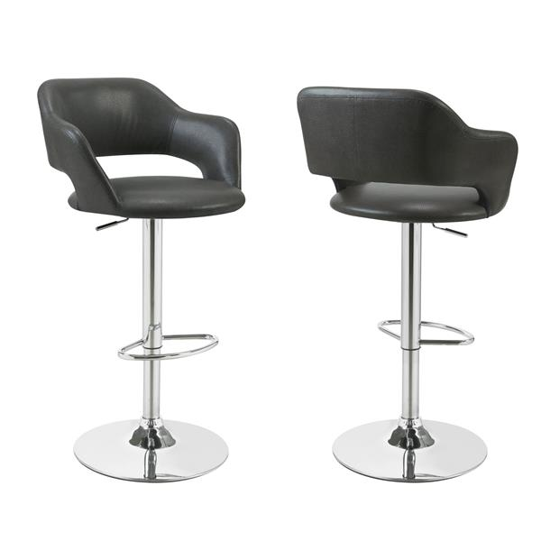 Monarch 24.25-in Faux Leather Grey Barstool