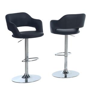 Monarch 24.25-in Faux Leather Black Barstool